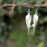 Single Heliconia flower earrings